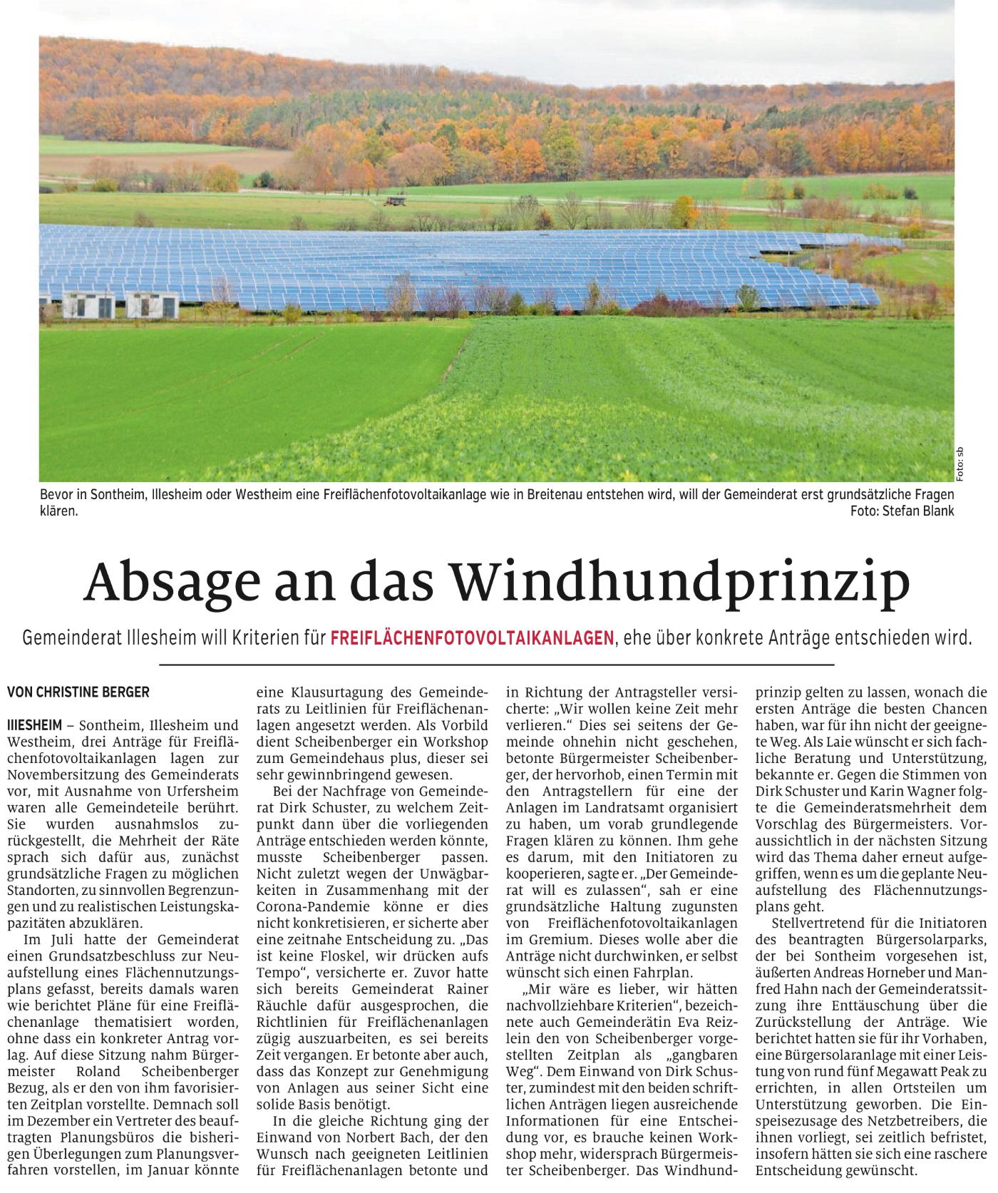 Artikel WIndsheimer Zeitung 4.11.2020
