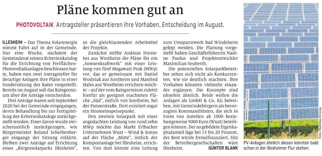 Bericht Windsheimer Zeitung vom 28.07.2021